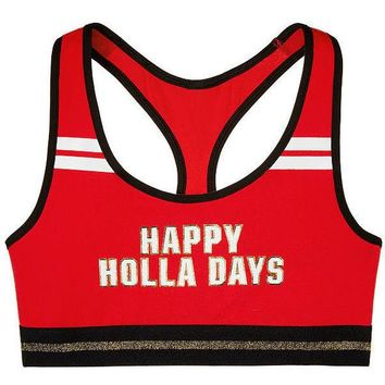 "Victoria's Secret PINK Crop "" HAPPY HOLLA DAYS"" Bralette Medium"