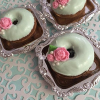 12 Mint Green Mini Donuts Pink Roses Pearl Doughnuts Sweets Table Candy Buffet Tea Party Favors