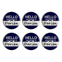 Darien Hello My Name Is Plastic Resin Button Set of 6