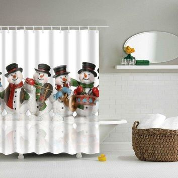 Bathroom Christmas Cartoon Snowman Waterproof Shower Curtain