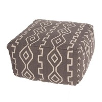 Modern Tribal Gray and White Pouf