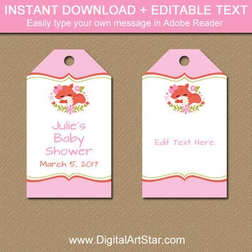 Pink Woodland Baby Shower Favor Tags - Printable Girl Baby Shower Tags - Woodland Thank You Tags - Fox Baby Shower Party Favor Tags BSGF