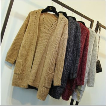 Loose Pocket Sweater Wool Cardigan B0014314