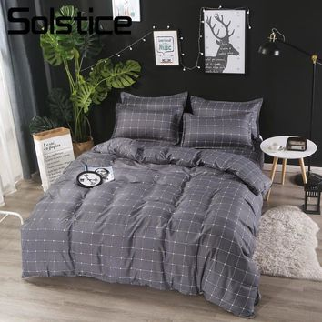 Solstice Home Textile 3-4Pcs Duvet Cover Pillow Case Flat Sheet Plaid Bedding Set Teen Adult Boy/Girl Bed Linens Suit King Queen