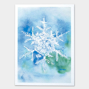 Snowflake Watercolor Painting Christmas Card Set