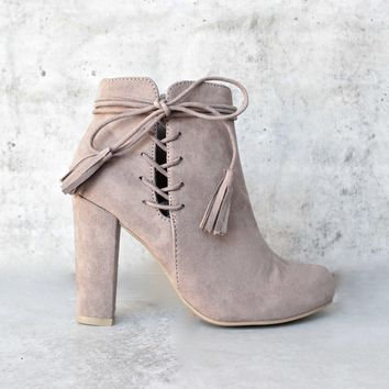 Tassel Lace Up Side Ankle Boots   Taupe