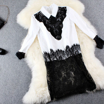 Black Embroidered Lace On White Doll Collar Asymmetrical Mini Dress