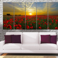 Red Poppies Photo Canvas Print  - High Quality Sunset Poppy field Framed Wall Art -  Hand Made in Europe for Home and Office_LC026