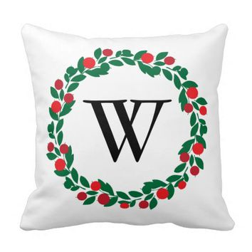 CHRISTMAS MONOGRAM WREATH CUSTOM PILLOW | MODERN