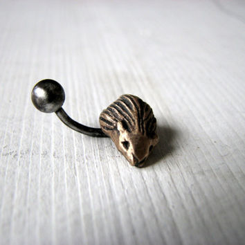 Hedgehog belly button ring