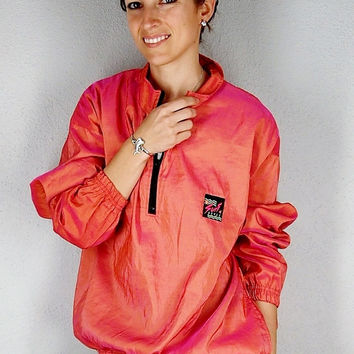 80s Surfer Jacket, Surf Style Wind Breaker, Coral Beach Cover Up, Mermaid Surfer Chic