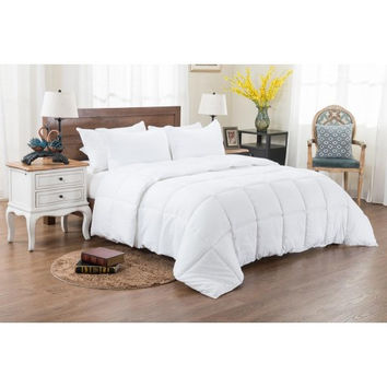 3PC Reversible Solid/ Emboss Striped Comforter Set- Oversized & Overfilled White in Full Size