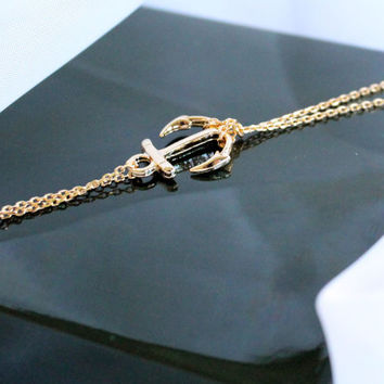 Anchor Anklet, Sideways Double Chained Anchor Anklet, Wedding Jewelry, Brides Maids Gift