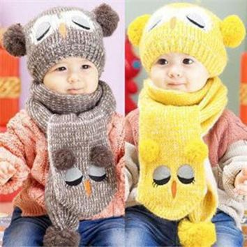ESBONJ Winter Warm Baby Boys Girls Hat Scarf Set Cute Knitted Cotton Hats for Toddlers Cartoon Owl Hats For 1 to 4 Years