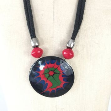 Bold Colorful Enameled Necklace and Earrings Set 81192a799e