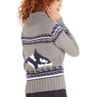 Nautical Mid-length Long Sleeve One Way Orca 'Nother Cardigan
