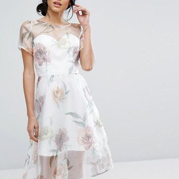 Chi Chi London Organza Midi Dress In Overscale Floral at asos.com