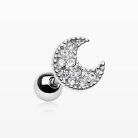 Crescent Moon Sparkle Cartilage Tragus Earring