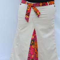 Custom Long Khaki Skirt, upcycled from Pants, Custom order your size and desired fabric, Maternity option, Bright colors