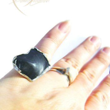 Obsidian Ring - Black Ring - Gemstone Ring - Statement Ring - Adjustable Ring - Gift for Her - Unqiue Ring - One of a Kind Ring