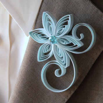 Baby Blue Boutonniere, Pastel Blue Buttonhole, Light Blue Wedding, Capri, Mens Wedding Boutonnieres