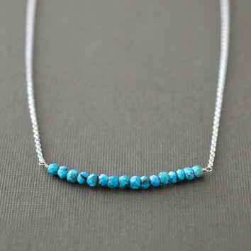 December Baby Push Present, New Mom Gift, Turquoise Necklace in Sterling Silver, December Birthstone Jewelry