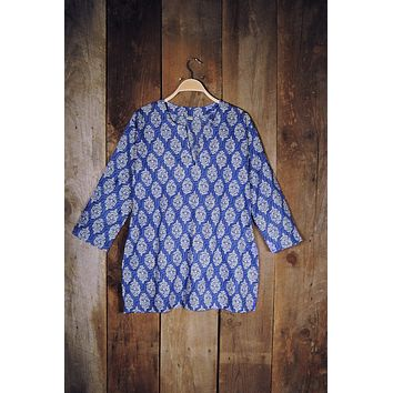 Cotton Tunic Top in Royal Blue Waves