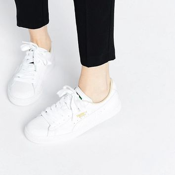 Puma Basket Classic White Sneakers at asos.com