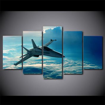 5 Panel Canvas Paint Jet Airplane Flying in Clouds  Wall Picture Framed UNframed