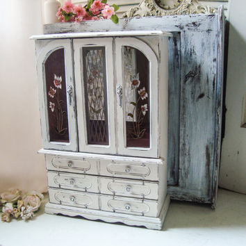 Cream Vintage Jewelry Box, Tall Antique White Vintage Jewelry Holder, Shabby Chic Big Jewelry Chest with Floral Glass Etching, Gift Ideas