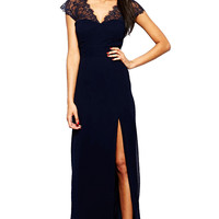 Navy V-neck Short Sleeve Chiffon Slit Maxi Dress with Lace Accent