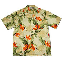 Sienna Cream Hawaiian Cotton Aloha Shirt