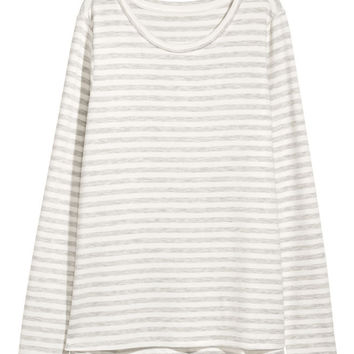 Long-sleeved jersey top - Grey/White striped - Ladies | H&M GB