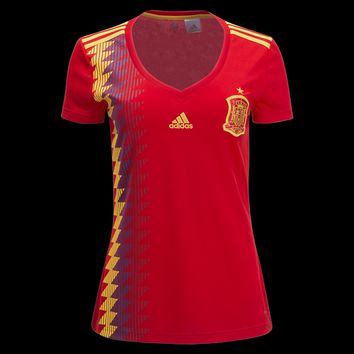 KUYOU Spain 2018 World Cup Home Women Soccer Jersey Personalized Name and Number
