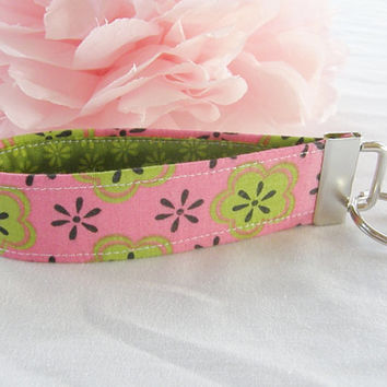 Ready To Ship Bright Pink Green Flower Key Fob Wristlet Key Chain