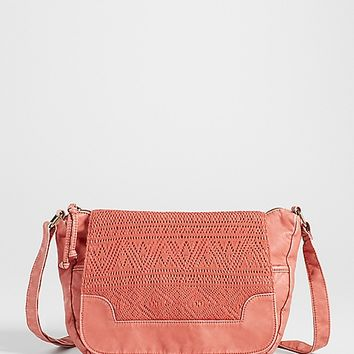 crossbody bag with ethnic lace flap in rust | maurices