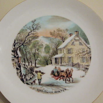 CURRIER & IVES vintage 50s Winter Sleigh Ride Plate Rustic Cottage Horse Drawn Sleigh Gold Band