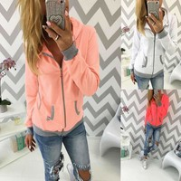 Hats Hoodies With Pocket Patchwork Zippers Tops Women's Fashion Jacket [193666514970]