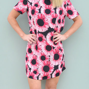 Short Sleeve Shift Dress in Bright Floral Handmade by Laura Ralph