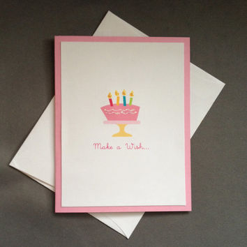 Pink Girl Glitter Happy Birthday Cake Cake Stand Birthday Candles Notecard Greeting Card Stationery Pack of 6
