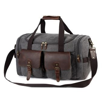 "22"" waterproof waxed canvas travel carry-on weekender Duffel Bag Men with crazy horse leather trims"