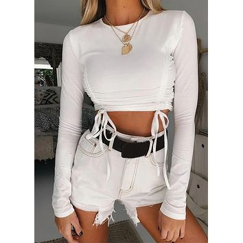 Women Long Sleeve Solid Color Lace Up Crop Top