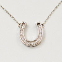 White Gold Good Luck Diamond Horseshoe Pendant Necklace