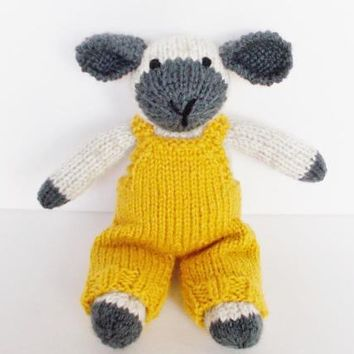 """Hand Knit Easter Lamb in Overalls, Stuffed Animal Nursery Toy, Ready To Ship, Handmade Lamb Doll, Newborn Baby Soft Toy, Toddler Gift 9 1/2"""""""