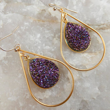 Purple Druzy Earrings Gold Drusy Jewelry Druzy Hoop Chandelier Teardrop Pear Quartz Drops - Free Shipping Jewelry