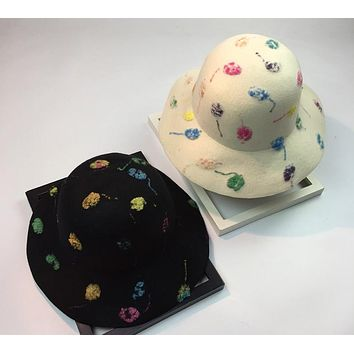 Women Mysterious Retro Wool Bucket Hat Multicolor Hand Painted Jazz Cap Bowler Hat