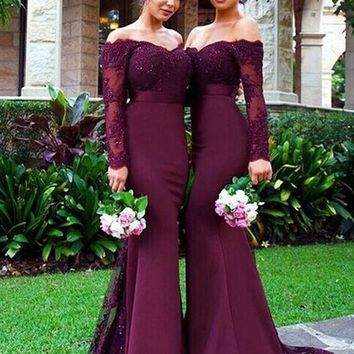 Burgundy Satin Mermaid Long Bridesmaids Dresses 2017 Appliques Party dress Long Sleeve Bridesmaid dr