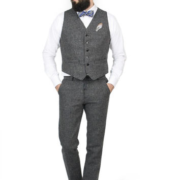 Sherlock Retro Modern Wool Tweed Groomsmen SUIT VEST ONLY Monkey Suits