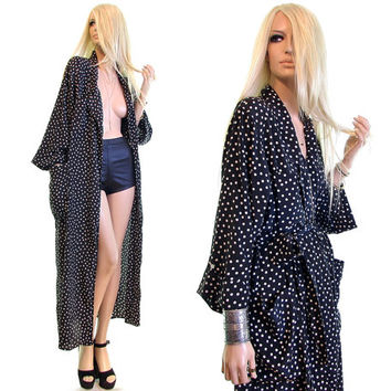 Mollie Parnis robe Bergdorf Goodman 70s dress robe vintage 70s robe lounge dress 70s dress polka dot robe dress black white womens clothing