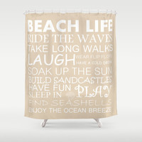 Beach Shower Curtain, Beach House Decor, Beach Life Decor, Coastal Living, Choose Your Color!, Bathroom Decor, Nautical Shower Curtain